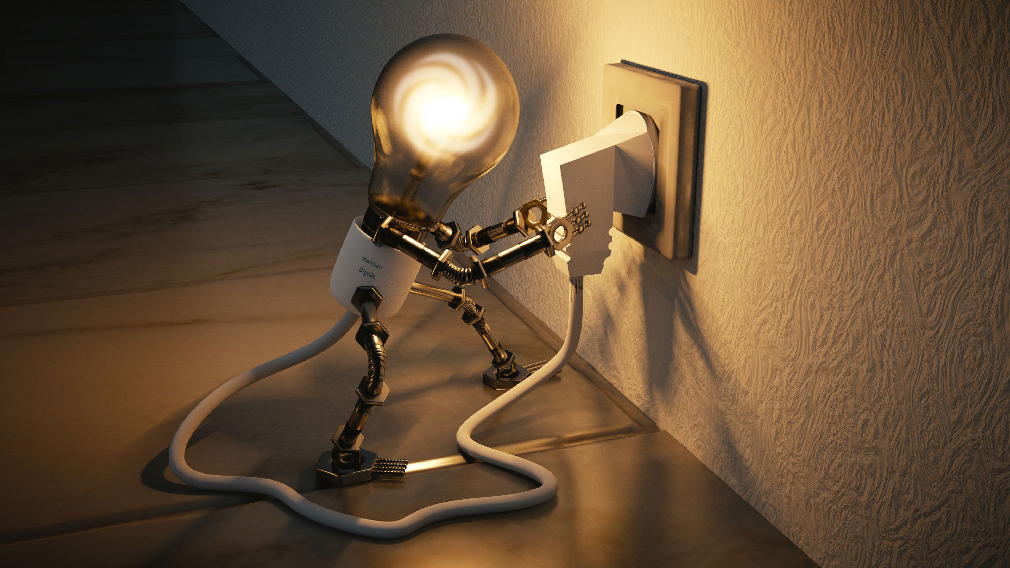 Piirretty lamppu, joka laittaa johtoa seinään.